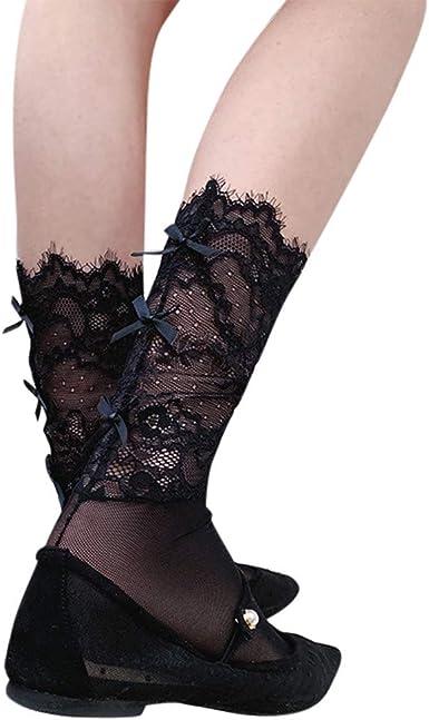 Womens Lace Socks Ultra Thin Fishnet Bow Cute Stockings Wedding Party Dress Crew Short Ankle Socks