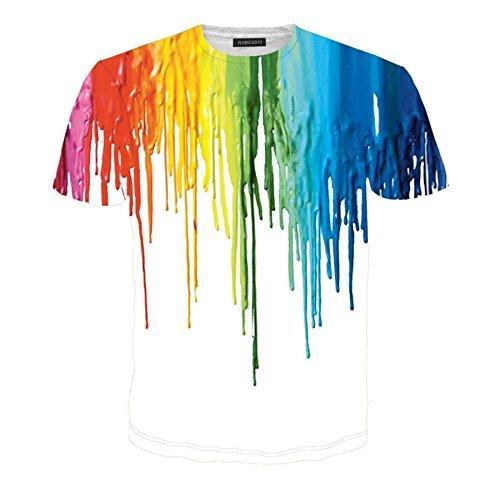 Price comparison product image Rxbc2011 Men's 3D Printed Rainbow Watercolor Paint Short Sleeve T-shirt XL Multicolor