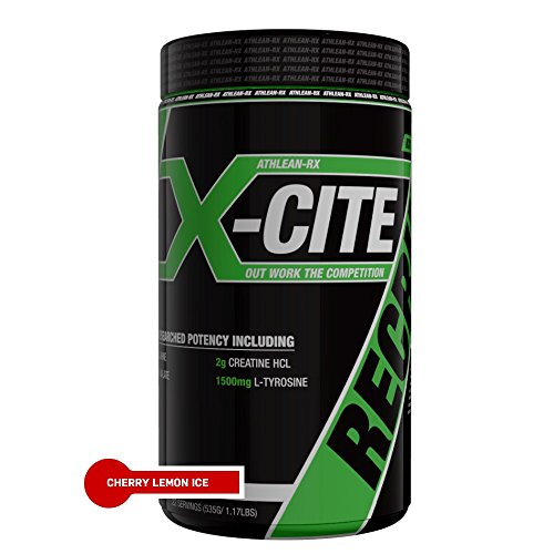 ATHLEAN-RX X-CITE Pre Workout Supplement with Beta Alanine, L-Citrulline Malate, Creatine HCL, Betaine Anhydrous, L-Tyrosine, Taurine, Caffeine Anhydrous & Guarana, Cherry Lemon Ice, 22 (Anhydrous Vitamin)