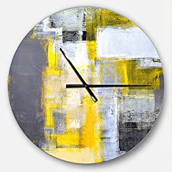 Designart Grey and Yellow Blur Abstract' Oversized Modern Metal Clock, Circle Wall Decoration Art, 23x23 Inches