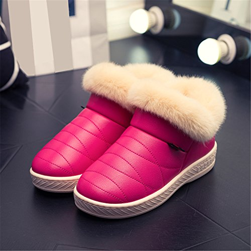 Warm Sole Boots Snow Winter Couple Thick Boots Shoes Ankle Women Fur Cotton Purple 1Ftaqx1Uw