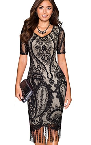 Merope J Womens Hollow Flower Tassel Short Sleeves Pencil Dress(S,Black£ (Celeb Halloween Costumes 2017)