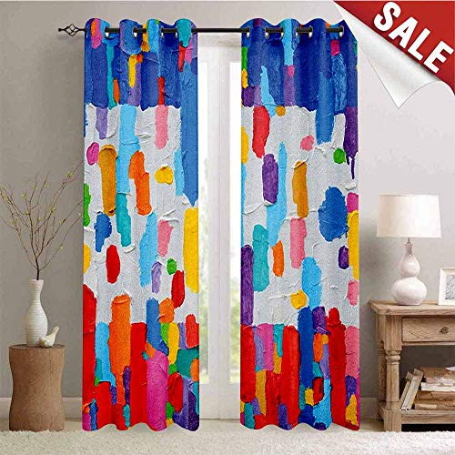 Hengshu Art Window Curtain Drape Colorful Abstract Painting Style in Contrasting Colors French Flag Pattern Brush Mark Customized Curtains W108 x L96 Inch Multicolor
