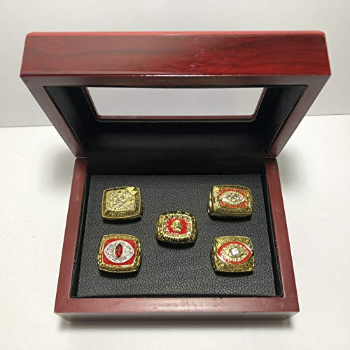 Set of 5 Washington Redskins Super Bowl & NFC Championship Replica Rings W/Box- Various Sizes Gold Color Collectible USA SHIPPER (1982 (XVII), 1987 (XXII), 1991 (XXVI)) (Gold Super Bowl Collectibles)