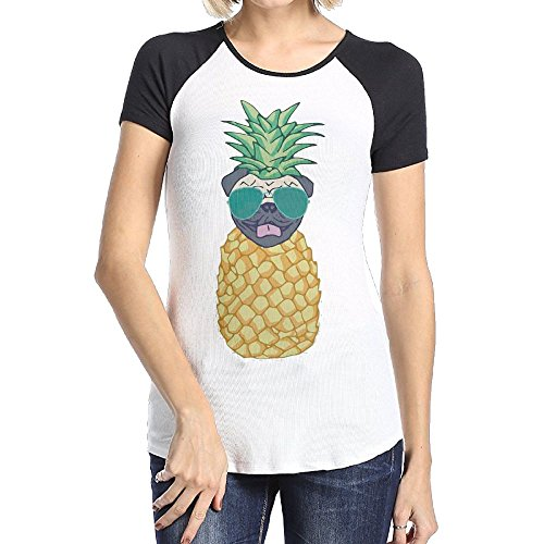 Osmantus Women's Funny Dog Pineapple Short Sleeve Raglan Tshirt Tee (Halloween Party College Station)