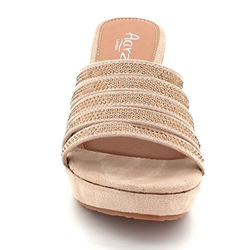 Evening Beige Heel Size Ladies LONDON Prom Sandal Crystal Womens Shoes Bridal AARZ On Slip Wedge High Wedding Diamante Party wq4UXTxR