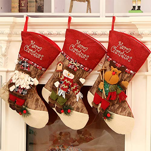 (Royalbeier Christmas Stocking Kits Xmas Santa Reindeer Snowman Custom Stockings 3D Plush Christmas Tree Party Decoration Ornaments Gift Candy Bag (F-3D Stocking))