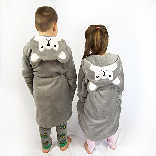 Hooded Fleece Robes for Toddlers Keeps Kids Cozy! Toddler Robe Calms Children! Cute and Warm Kids' Robe for Boys and Girls (Gray Wolf) by Happy Healthy Parent (Image #3)