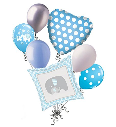 7 pc Blue & Grey Elephant Baby Boy Balloon Bouquet It's a Shower Welcome Home]()