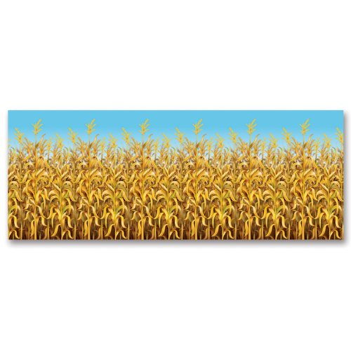 Beistle 1-Pack Decorative Cornstalks Backdrop, 4-Feet by 30-Feet -