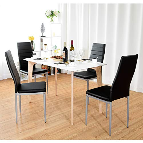 COSTWAY PU Leather Dining Side Chairs Elegant Design Home Furniture, Set of 4 (Black)
