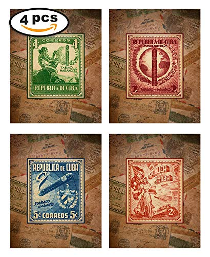- Wallables Cuban Cigar Theme Mens Wall Decor Print Set Four 8x10 Vintage Wall Art for Cigar Lounge, Barber Shop, Bachelor pad, Office, bar, Tavern, Smoking Room. Designed Exclusively