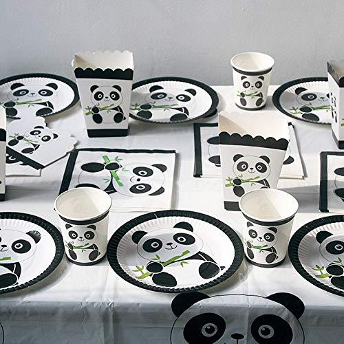 Migvela 10pcs Anniversaire de Panda Festif de Mariage Outils d/écoratifs Vacances f/ête Couverts Ensemble Papier Tasse Plateau de Papier