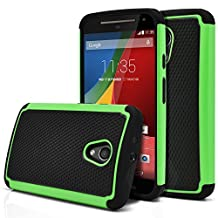 Moto G 2nd Gen Case, MagicMobile [Dual Armor Series] Hybrid Impact Resistant Moto G 2nd Generation Shockproof Tough Case Hard Plastic with Silicone Protective Case for Moto G 2 (2014) [Black/Green]