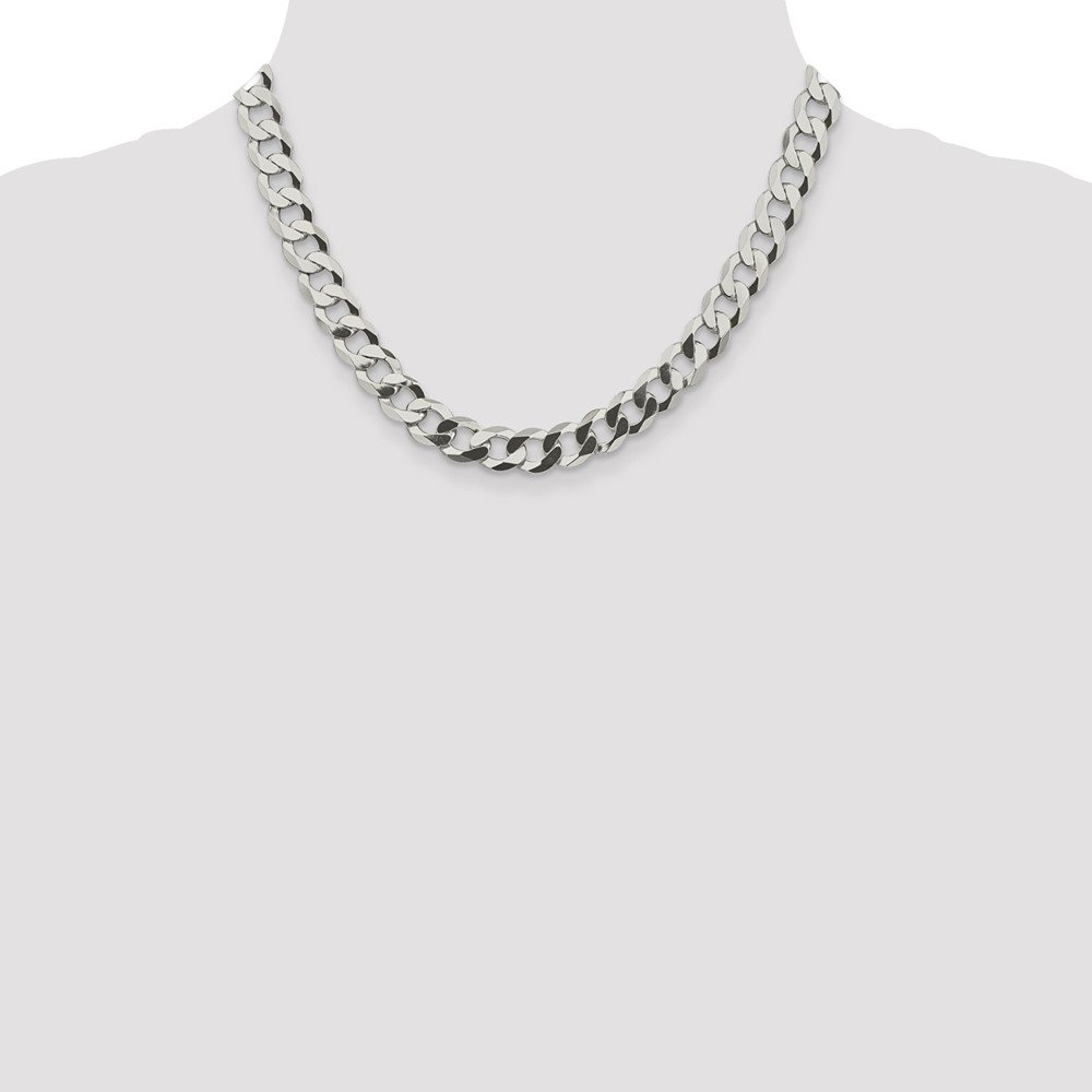 Black Bow Jewelry Mens 9.75mm Sterling Silver Solid Flat Curb Chain Necklace