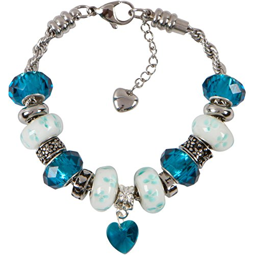 December Charm Bracelet With European Bead Charms For Women, Stainless Steel Rope Chain, Focus 8 Inch