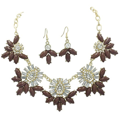 Unique Cluster Statement Boutique Style Necklace & Earrings Set - Assorted colors (Brown)