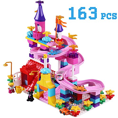 City Building Blocks Set, Track Builder Castle Kit, Car Racing Toy, 163 pcs DIY Learning Puzzles, Flexible Building Bricks Vehicle Playset, Early Development Toys Gift for 5, 6, 7, 8, (City Building Set)