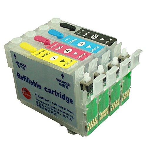CEYE Refillable Ink Cartridges Kit For EPSON XP204 XP214 XP101 XP201 XP211 XP401 XP411 WF-2532 196 with resetter button NEW 4pcs -