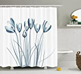 Ambesonne Xray Flower Decor Shower Curtain, Image of Tulips Solarized Effects Nature Inspired New Vision Home, Polyester Fabric Bathroom Set with Hooks, 69W X 70L inches Long, White Dark Teal