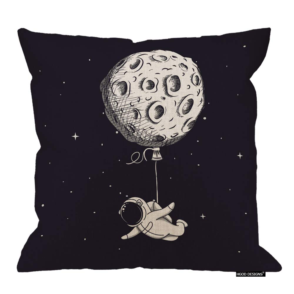 HGOD DESIGNS Spaceman Pillow Cover,Funny Astronomy Fly Moon Like A Balloon Cotton Linen Cushion Covers Home Decorative Throw Pillowcases 18x18inch