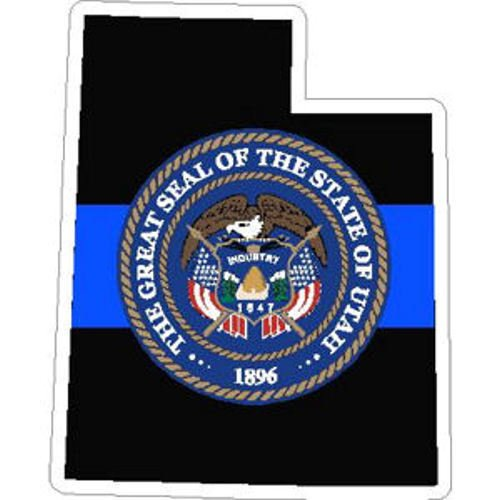 ION Graphics 4 Inch Thin Blue Line Utah State Seal Police Vinyl Sticker Decal 3x4 Inches
