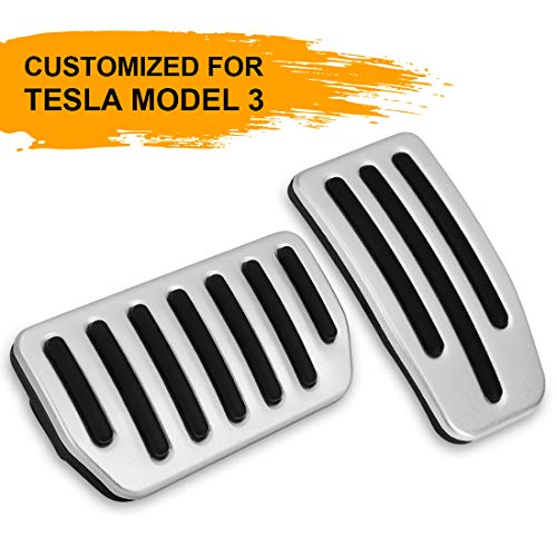 -Slip Foot Pedal Pads, Auto Aluminum Pedal Covers, Accelerator & Brake Foot Pedal Pads for Tesla Model 3 (A Set of 2) ()