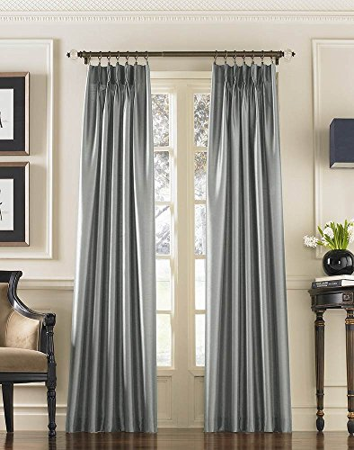 Pinch Pleat Curtain Drapery - Curtainworks Marquee Faux Silk Pinch Pleat Curtain Panel, 30 by 95