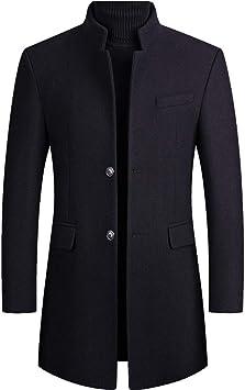 メンズウィンターウールシックコートスリムフィットスタンドカラーボタンファッションウールブレンドアウタージャケットトレンチ