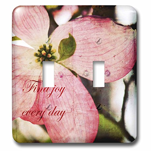 3dRose lsp_57208_2 Find Joy Every Day Pink Dogwood Flower Inspirational Floral Print Double Toggle Switch by 3dRose