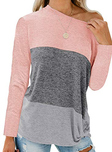 Arainlo Women's Casual Color Block Long Sleeve Off Shoulder Pullover Loose Light Weight Plus Size Tunic Sweatshirt X-Large Pink