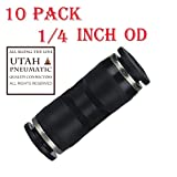 "Utah Pneumatic 10 pack Plastic Push To Connect Fittings Tube Connect 1/4 inch Straight od Push Fit Fittings Tube Fittings Push Lock (1/4""Straight)"