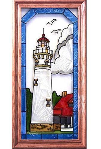 Silver Creek Seul Choix MI Lighthouse SUNCATCHER 11x22 Painted Framed Window Panel