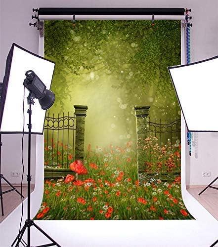 CdHBH 10x12ft Fairytale Spring Garden Backyard Stone Fence Door Green Grass Wildflower Portrait Clothing Photo Photography Background Cloth Studio Photo Photography Background
