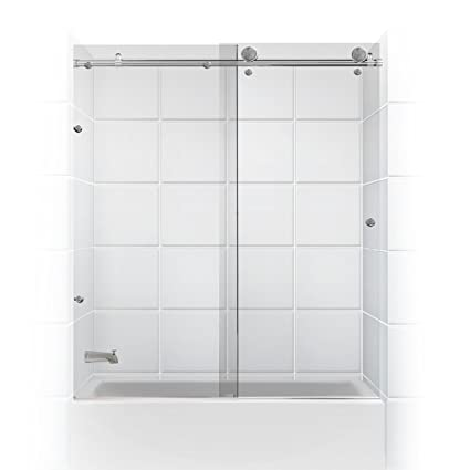 Meridian Series Frameless Glass Sliding Barn Door Coastal Shower