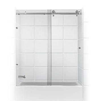 meridian series frameless glass sliding barn door coastal shower doors