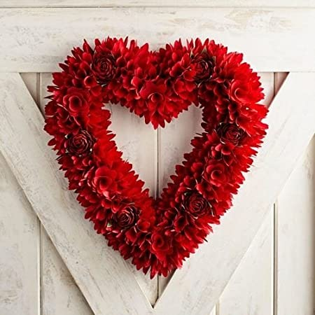 Valentine S Day Red Wood Curl Faux Rose Heart Wreath Amazon Co Uk