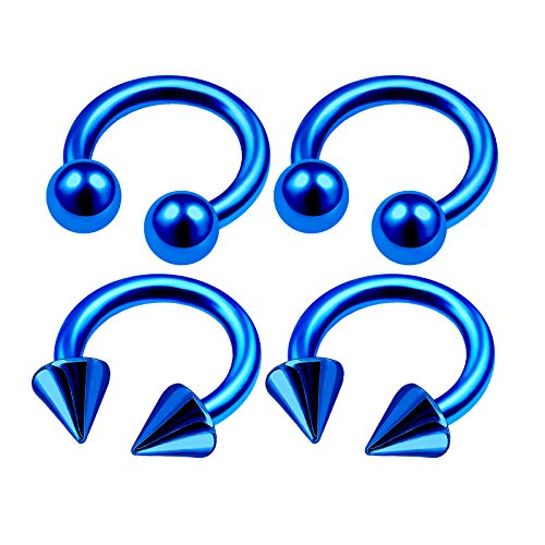 4Pcs Blue Anodized 14 Gauge 5/16 8mm Horseshoe Rings for Women Piercing Jewelry Tragus Lip Septum Eyebrow 4mm Ball Cone M4970