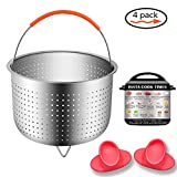 stainless steel baby cooker - Instant Pot 304 Stainless Steel Steamer (4PCS)-Instapot Accessories Steam Basket for 6qt 8qt Instant Cooker Pressure Cooker Steamer -Instant Pot Magnets,Silicone Insulated Gloves