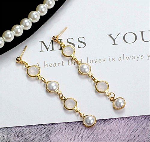 Semi-Circular Pearl Long Earrings Simple Women Jewelry - Mother Of Pearl Circular Earring