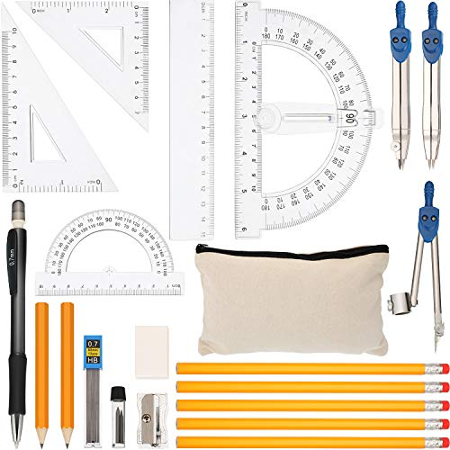 21 Pieces Geometry Compass Set Math School Set with Ruler, Compass Math, Set Square, Protractors, Mechanical Pencil, Sharpener, Eraser, Lead, Pencils and Pencil Bag