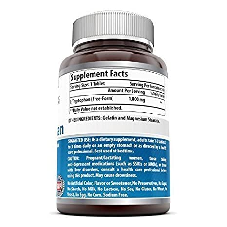 Amazing Formulas L-Tryptophan Dietary Supplement - 1000 mg 60 Tablets: Amazon.es: Salud y cuidado personal