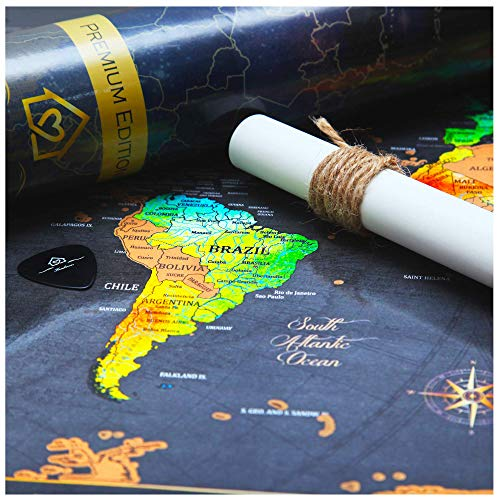 World Map Scratch Off Map of The World (24x17) - Unique Gold & Watercolor Travel Scratch Off World Map Poster - Fun & Educational Keepsake Gift for Travelers & Families - Keepsake Fun