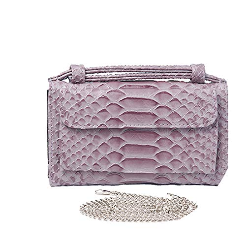 Fashion Cowhide Leather Day Clutch One Shoulder Cross-body Bag Small Crocodile Pattern Leather Clutch Chain Women's Gift,Snake Gray Pink