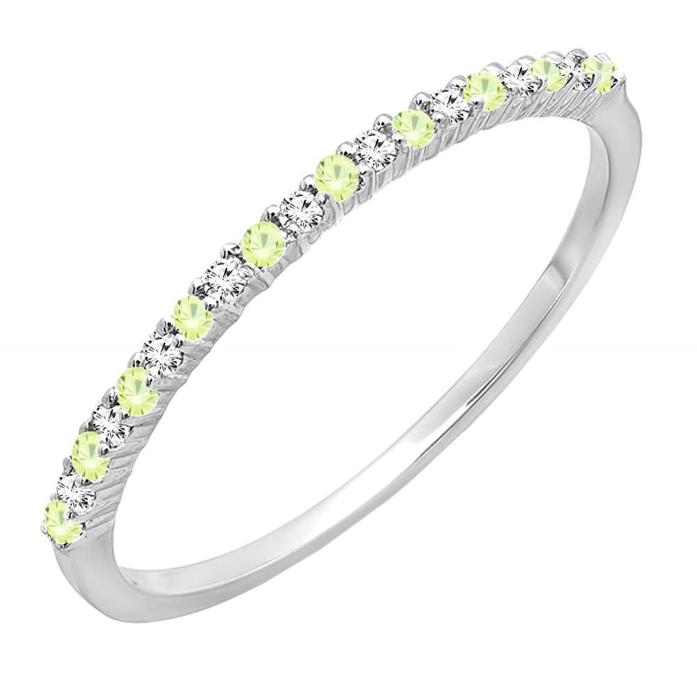 Dazzlingrock Collection 14K Round Peridot & White Diamond Ladies Anniversary Stackable Wedding Band, White Gold, Size 9