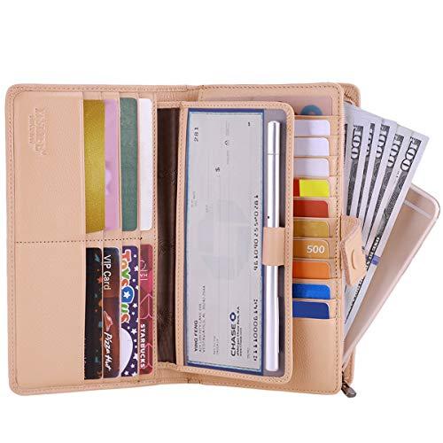 Itslife Women's Big Fat Rfid Leather wallet clutch organizer checkbook holder (Apricot) (Checkbook White Wallet)