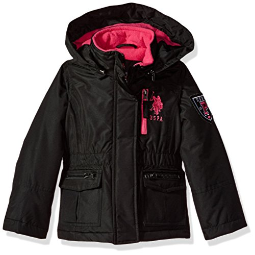 US Polo Association Girls' Little Outerwear Jacket (More Styles Available), Parka-UA88-Black, 4 (Parks And Recreation Polo)