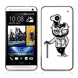 A-type Arte & diseño plástico duro Fundas Cover Cubre Hard Case Cover para HTC One (M7) ( classy búho )