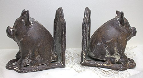 (Sitting Pig Bookend Set ~ Cast Iron Distressed Gray/white Bookends)