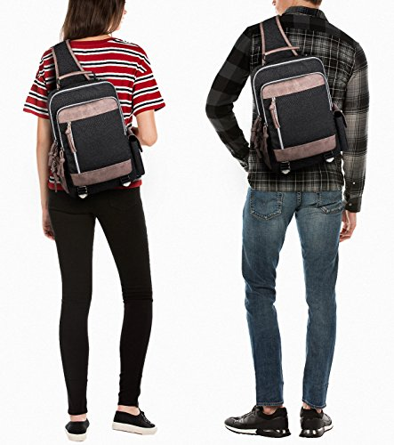 Leaper Retro Messenger Bag Outdoor Cross Body Sling Bag Travel Bag Shoulder Backpack (Black3103) by Leaper (Image #6)